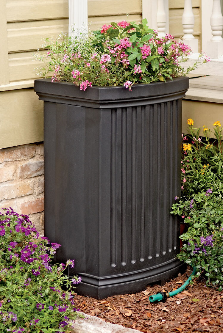Decorative rain barrels with planter gardener 39 s supply for Gardeners supply planters