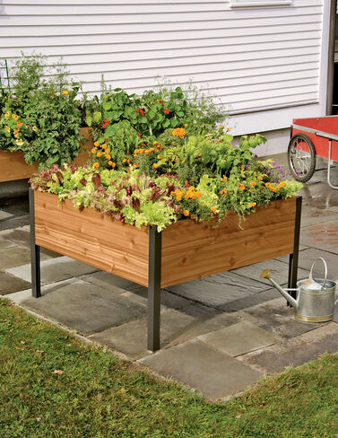 4' x 4' Elevated Cedar Planter Box Raised Bed, Raised Garden Bed, Garden Bed, Raised Garden, Container Gardening, Garden Containers