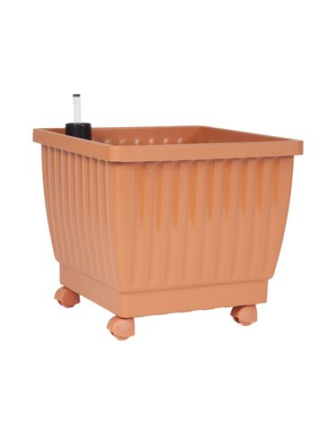 "15"" Self-Watering Rolling Planter, Terra Cotta"