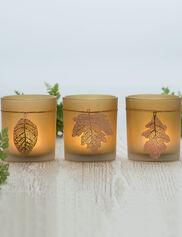 Lace Leaf Tea Light Holders, Set of 3