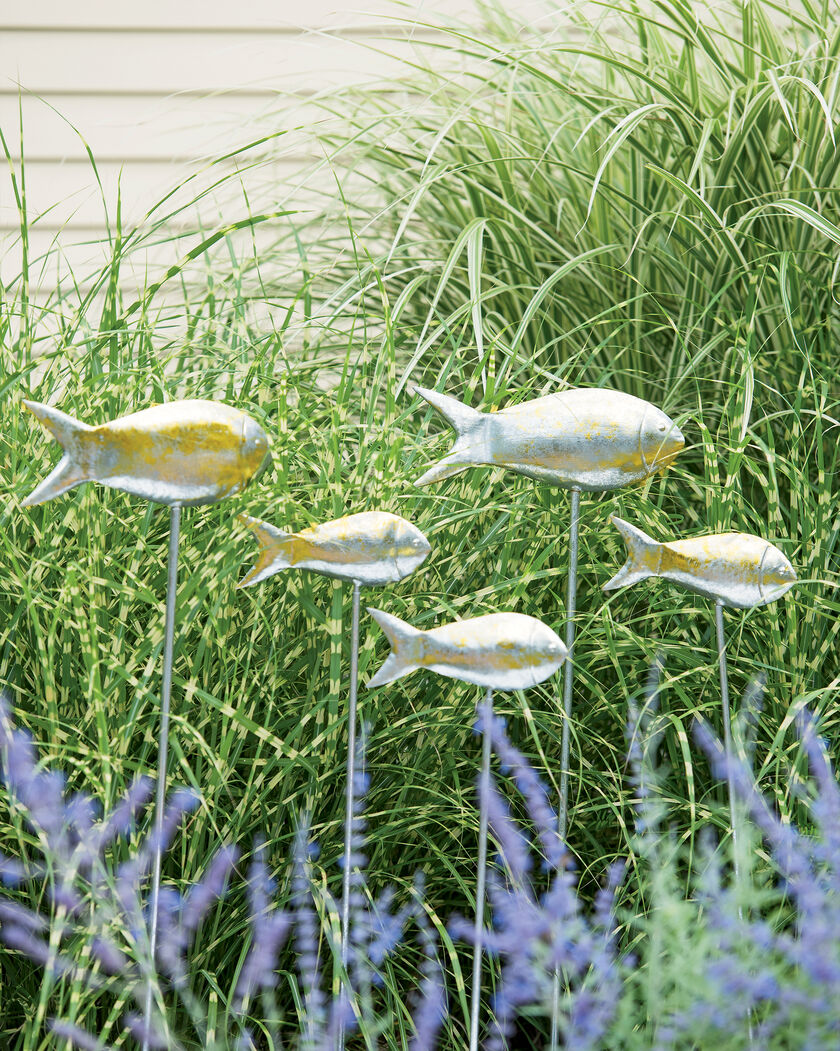 Fish out of water garden stakes set of 5 metal fish yard art for Outdoor decorative items