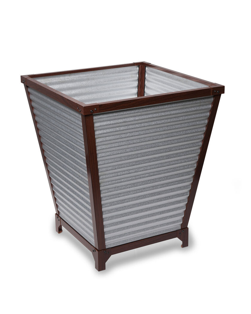 Galvanized Self Watering Planters Tall Corrugated Metal