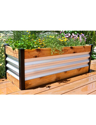 Corrugated Metal and Wood Raised Bed Garden Beds