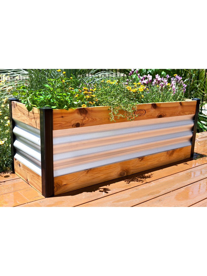 Corrugated metal and wood raised bed garden beds Raised garden beds
