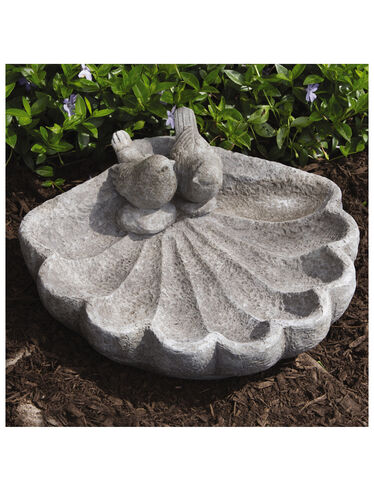 Shell Bird Bath with Sparrows