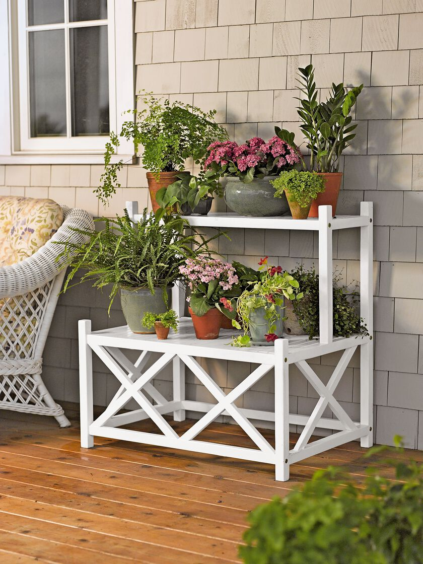 Outdoor plant stands cottage plant stand a two tier - Tier plant stand outdoor ...