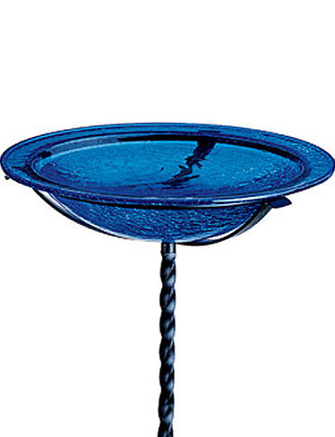 Crackle-Glass Bird Bath