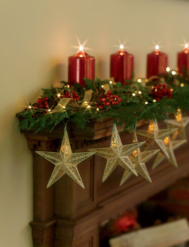 Wooden star light garland gardener 39 s supply - Decoracion de chimeneas ...