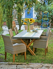 Vineyard Outdoor Wicker and Teak Dining Set