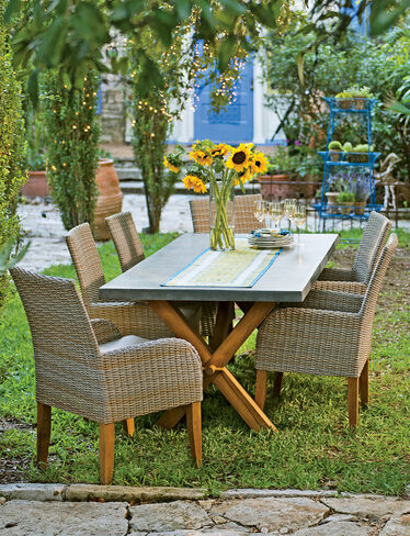 Rustic Farmhouse Dining Table Set Trestle Table Resin Wicker