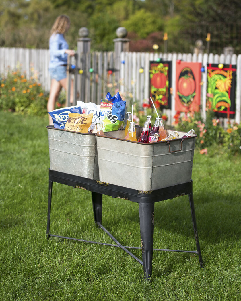 Wash Tub Planter Elevated Garden Metal Wash Tub Planter