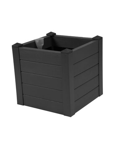 Terrazza Square Planter, Black