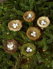 Bird Nest Ornaments, Set of 6