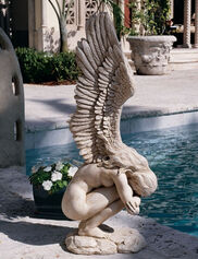 Crouching Angel Garden Statue