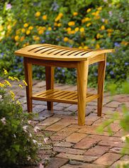 Teak Stool with Shelf