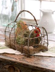 Roosting Hen in Basket