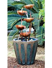 Copper Lotus Cascading Fountain