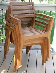 Danish Eucalyptus Bistro Chairs, Set of 4