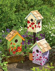 Floral Print Birdhouses, Set of 3