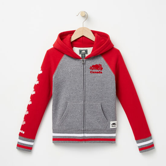 Roots-Kids Tops-Girls Cooper Canada Full Zip Hoody-Sage Red-A
