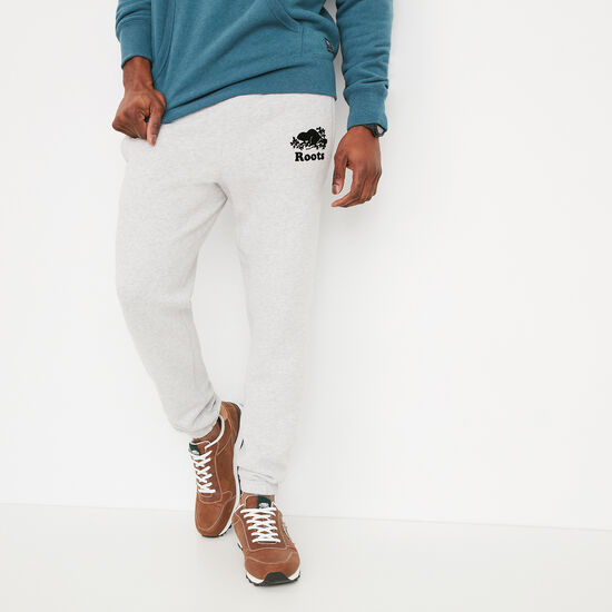 Roots-Men Bottoms-Slim Sweatpant-Snowy Ice Mix-A