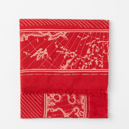 Roots-Women Scarves & Wraps-Marine Print Scarf-Scooter Red-A