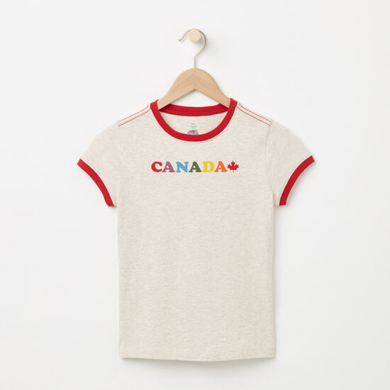 Roots-Kids T-shirts-Girls Maple Canada Ringer T-shirt-Almond Milk Mix-A