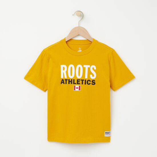 Roots-Kids T-shirts-Boys Roots Re-issue T-shirt-Ancient Gold-A