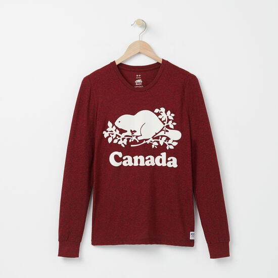 Roots-Women Canada Collection By Roots™-Womens Cooper Canada Long sleeve T-shirt-Sage Red Pepper-A