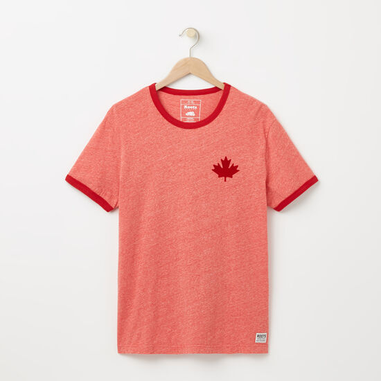 Roots-Men Tops-Camp Canada Ringer T-shirt-Sage Red Mix-A