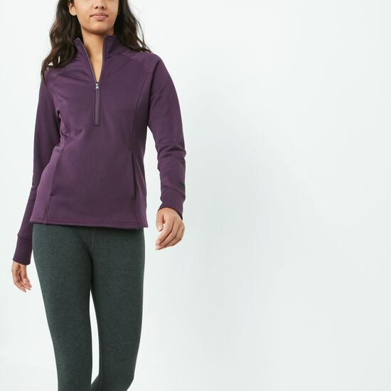 Roots-Sale Women's-Madison Mid Layer Half Zip-Blackberry Wine-A