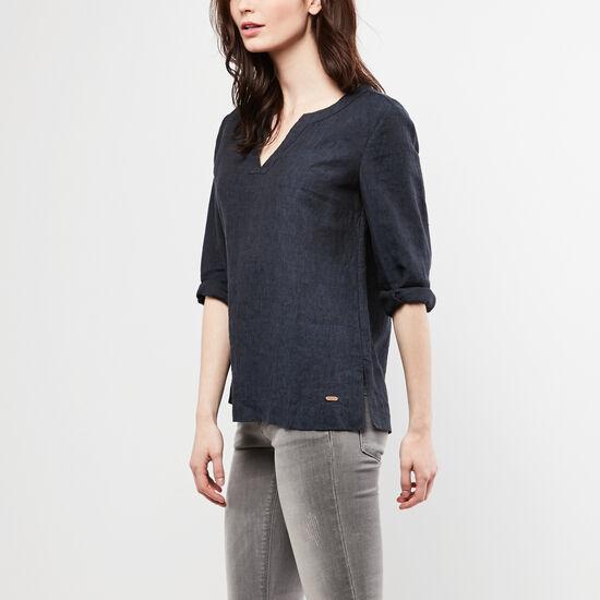Roots-Women Shirts-Sable Shirt-Indigo Blue-A