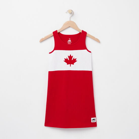 Roots-Kids Tops-Girls Blazon Jersey Dress-Sage Red-A
