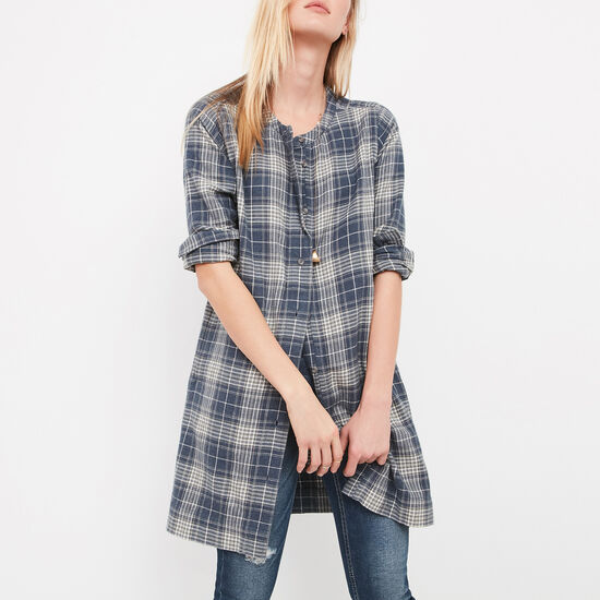 Roots-Women Shirts-Kelowna Plaid Tunic-Blue Iris Mix-A