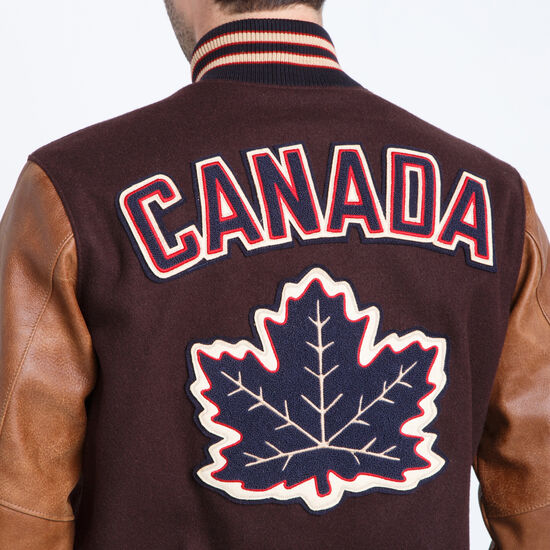 Roots-Leather Men's Leather Jackets-Vintage Award Jacket Tribe-Brown-A