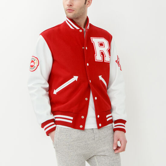 Roots-Men Leather Jackets-Mens Award Jacket-Red-A