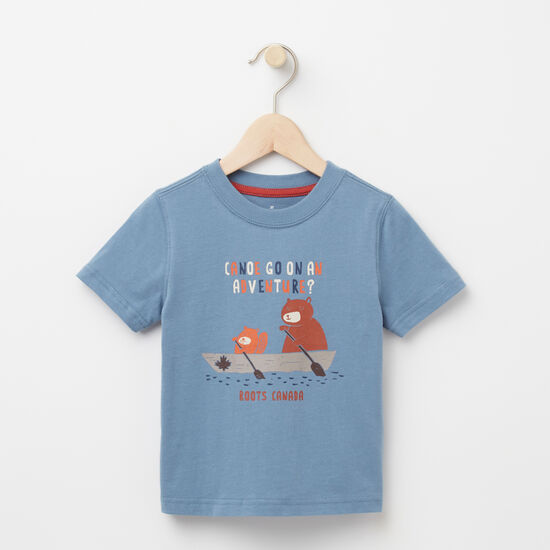 Roots-Kids T-shirts-Toddler Canoe Adventure T-shirt-Bluestone-A