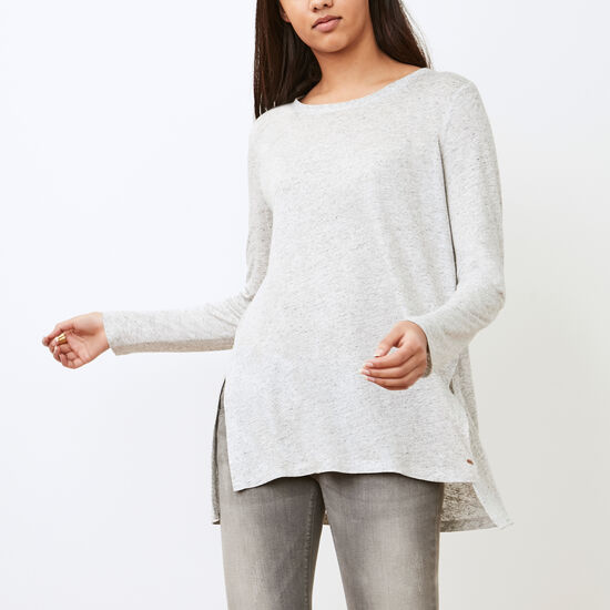 Roots-Women Long Sleeve T-shirts-Nanoose Top-Light Grey Mix-A