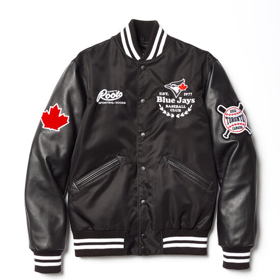 Roots-Leather Leather Jackets-Blue Jays Nylon Jacket-Black-A
