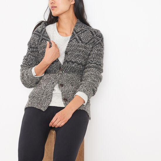 Roots-Women Sweaters & Cardigans-Nordic Cardigan-Grey Oat Mix-A