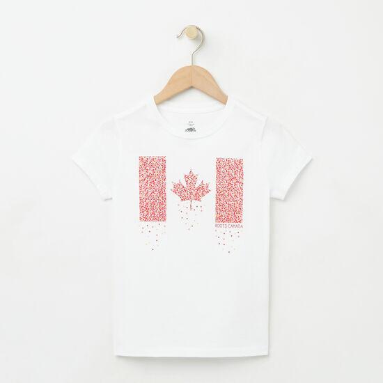 Roots-Kids T-shirts-Girls Confetti Canada T-shirt-White-A