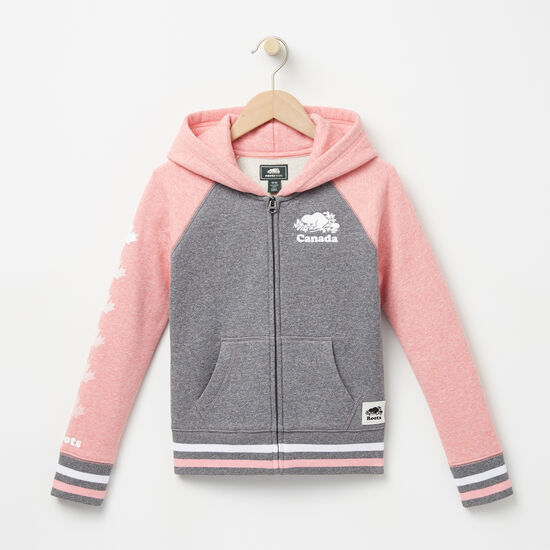 Roots-Kids Tops-Girls Cooper Canada Full Zip Hoody-Peony Pink Pepper-A