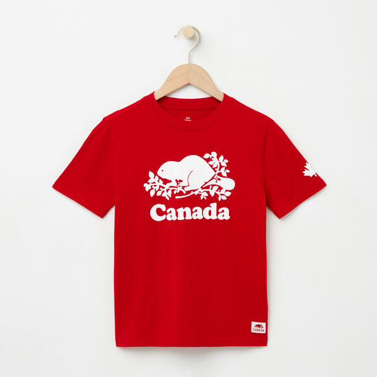 Roots-Kids T-shirts-Boys Cooper Canada T-shirt-Sage Red-A