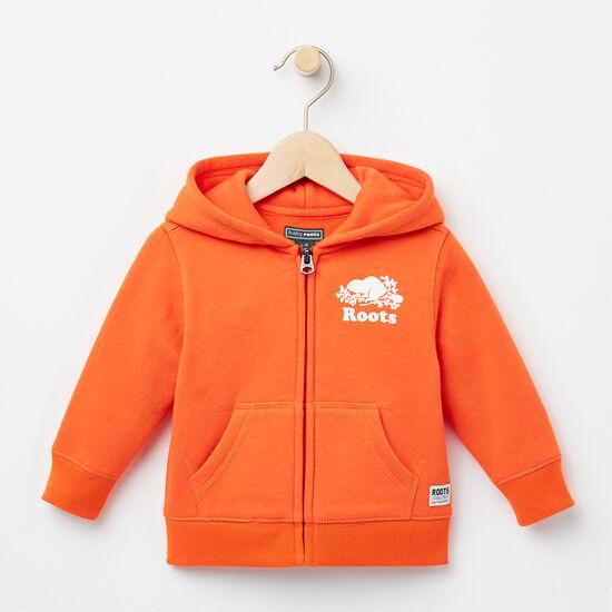 Roots-Kids Tops-Baby Original Full Zip Hoody-Maple Orange-A
