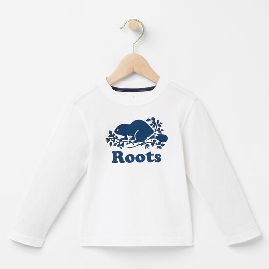 Roots-Kids T-shirts-Toddler Copper Beaver T-shirt-White-A