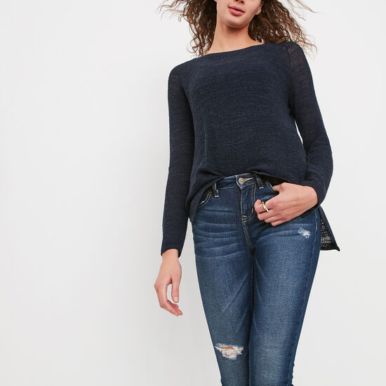 Roots-Women Tops-Ridgeview Sweater-Cascade Blue Mix-A