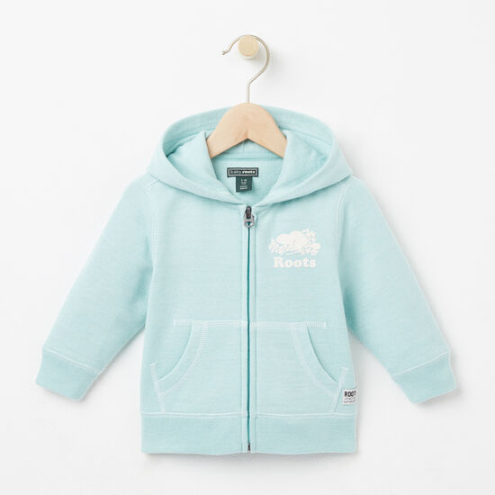 Roots-Kids Tops-Baby Colour Pepper Original Full Zip Hoody-Pastel Turquoise Ppr-A