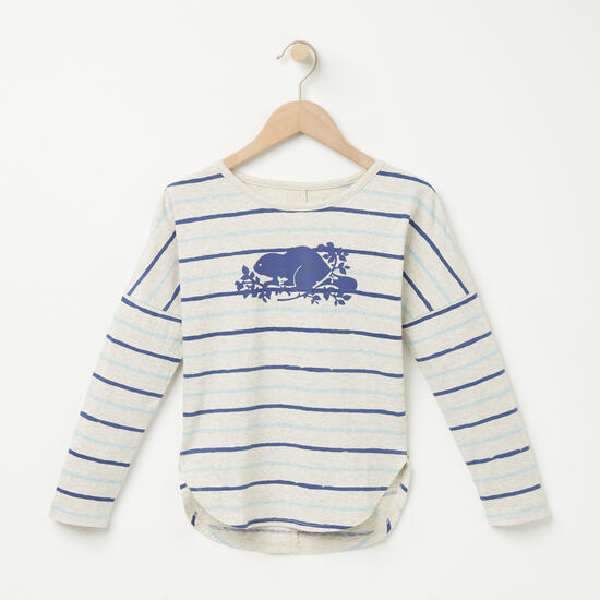 Roots-Kids Tops-Girls Dover Top-White Grey Mix-A
