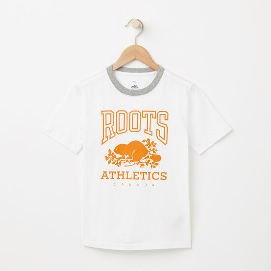 Roots-Enfants T-shirts-Garçons T-shirt RBA Phosphorescent-Blanc-A