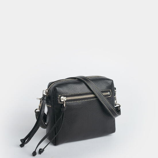Roots-Women Mini Leather Handbags-Everyday Pouch Prince-Black-A
